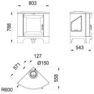 Estufa de leña de fundición rincon BRONPI modelo BREMEN