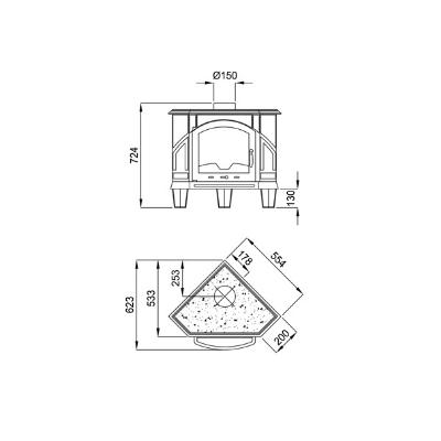 Estufa de leña fundicion BRONPI modelo ALTEA