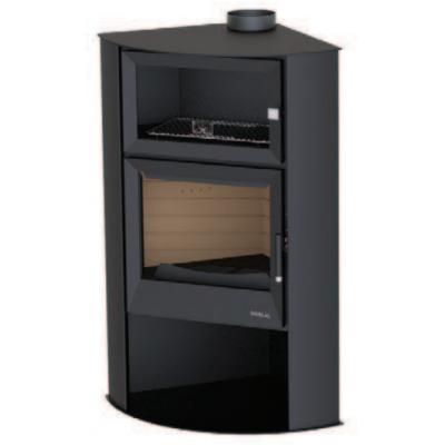 Estufa rincón con horno y leñero BOREAL Serie EH7000